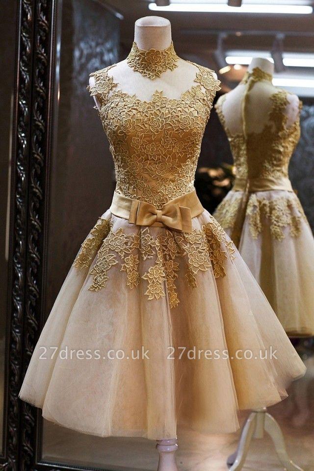 Luxury High Neck Sleeveless Golden Appliques Tulle Short Prom Dress UK