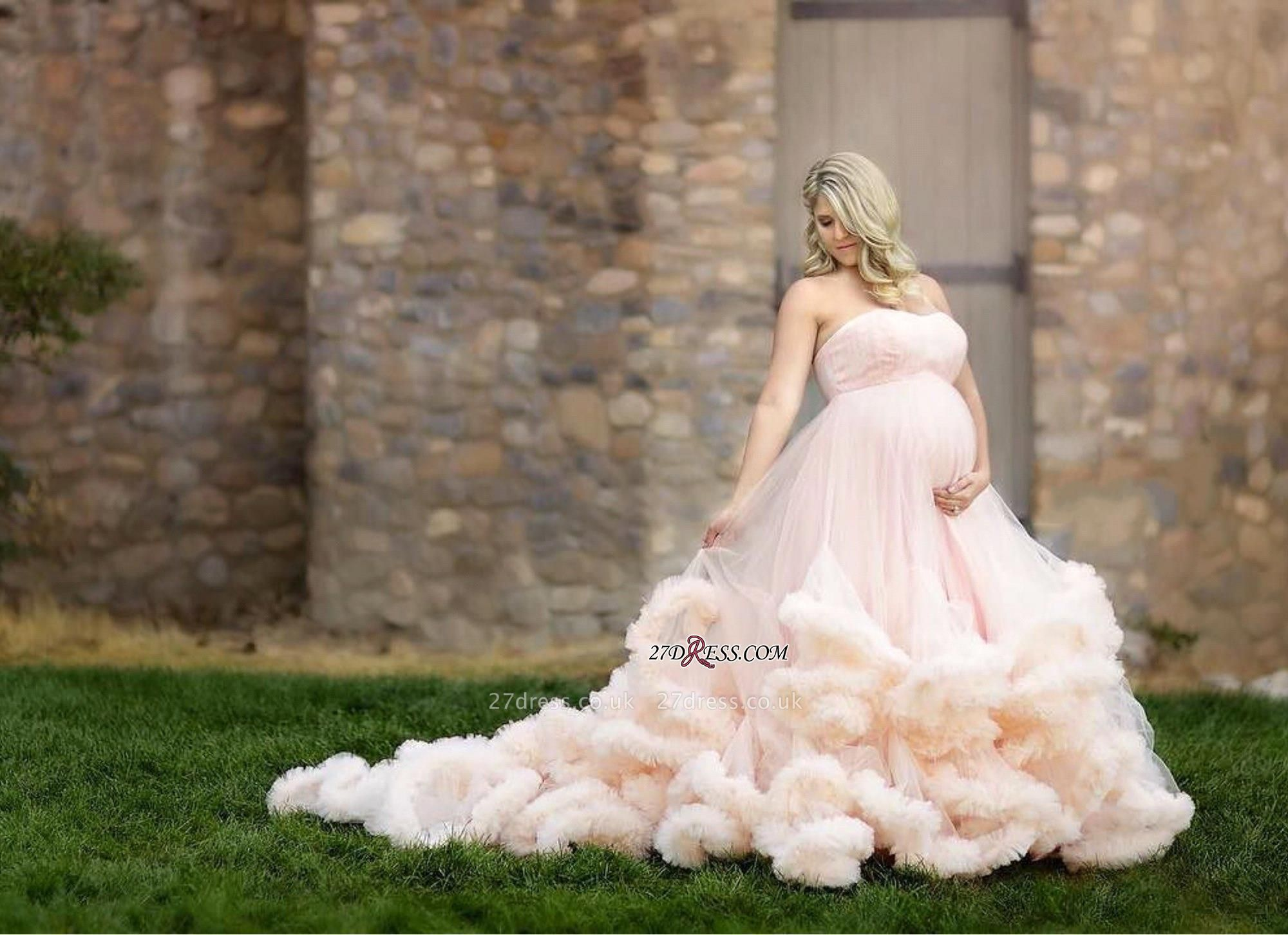 Pink Maternity Long Cloud Strapless Pregnant Wedding Dresses UK