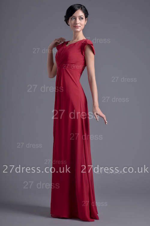 Sexy Cap Sleeve Chiffon Evening Dress UK A-line Floor-length