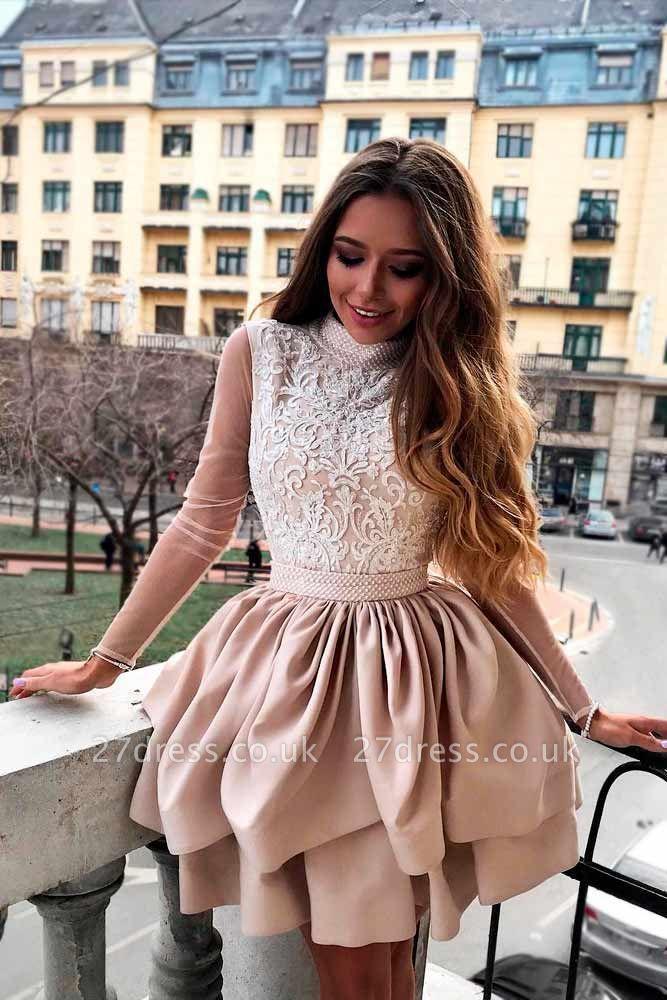 Luxury Hi-Neck Long Sleeve 2019 Homecoming Dress UK | Mini Lace Party Dress UK