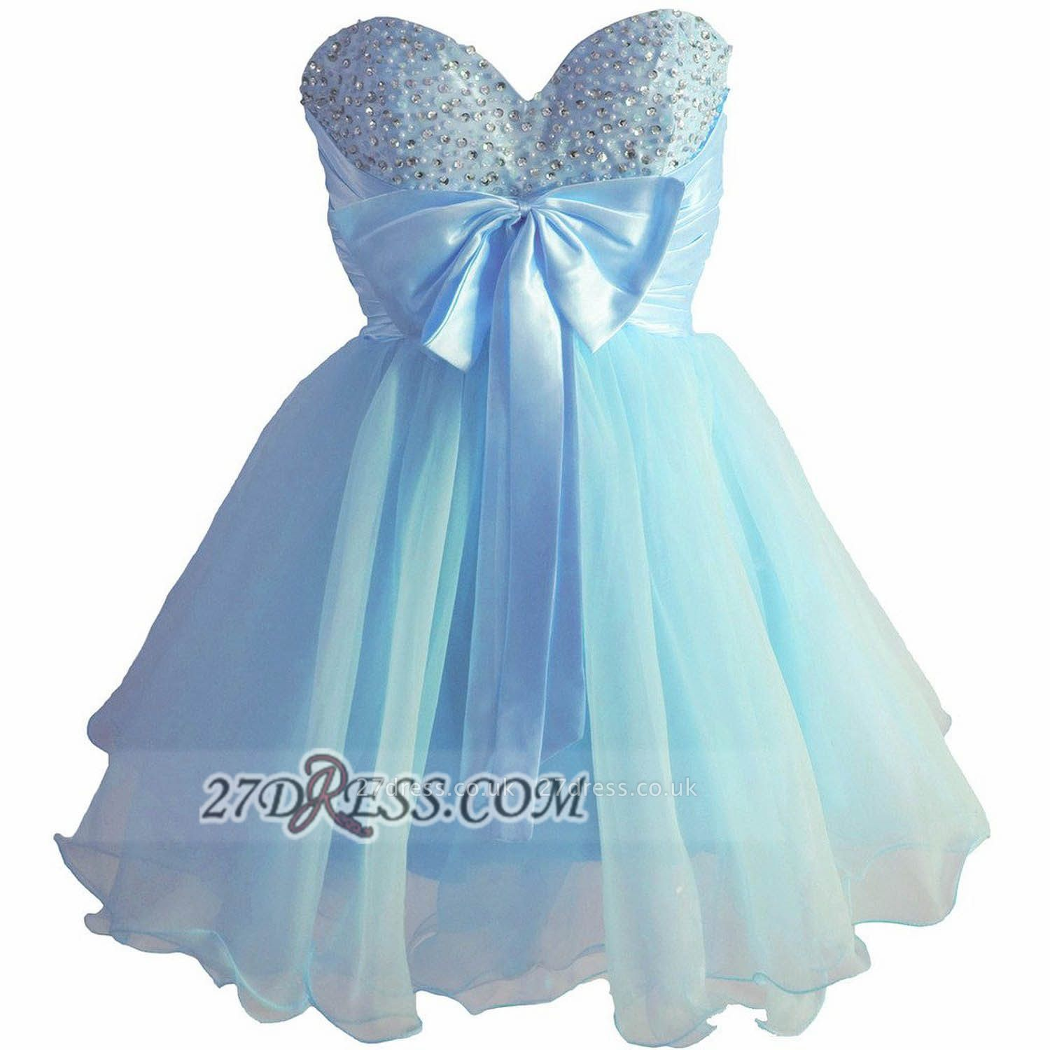 Lovely Sweetheart Sleeveless Short Homecoming Dress UK Beadings Pearls Bowknot Lace-up Cocktail Gown