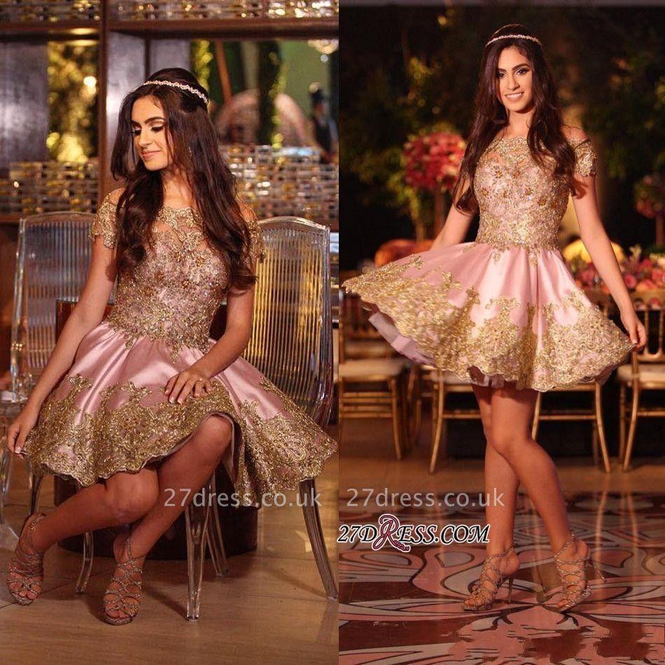 Gold Lovely Appliques Short Lace Pink Off-The-Shoulder Homecoming Dress UK BA6543