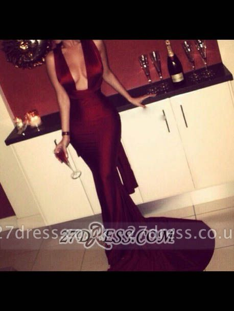 Elegant Sleeveless Mermaid Burgundy Prom Dress UK Sweep Train