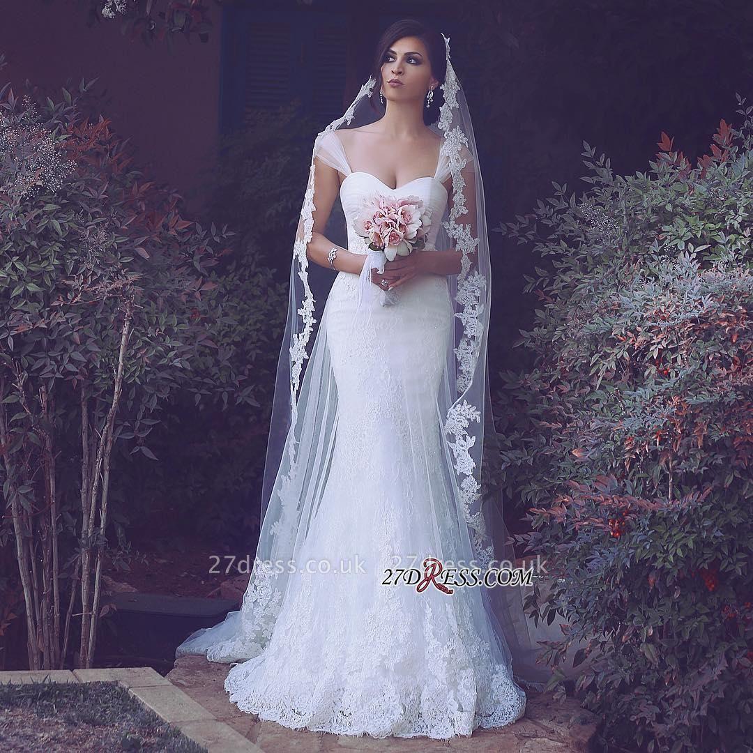 Straps Appliques Elegant Tulle Sweetheart Sexy Mermaid Wedding Dresses UK