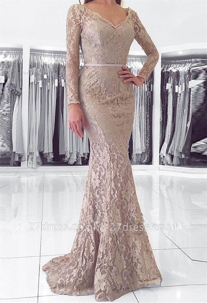 Sexy Long Sleeve V-Neck Lace Evening Dress UK Mermaid Online