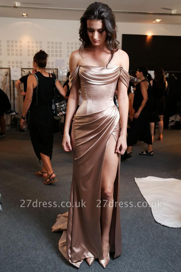 Modern Off-the-shoulder Front Split Prom Dress UK Sweep Train