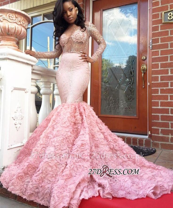 Beadings Sexy Appliques Mermaid Pink Sleeves Long Prom Dress UK BA4595 BK0