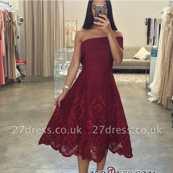 Asymmetric Tea-Length Burgundy Off-the-Shoulder Prom Dress UKes UK LY158