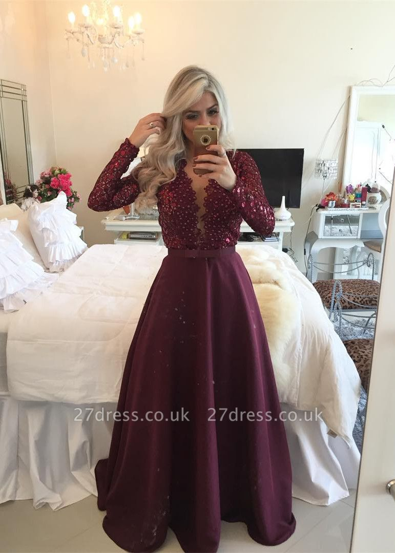 Gorgeous Long Sleeve Beadins Appliques Prom Dress UKes UK Long On Sale BT0