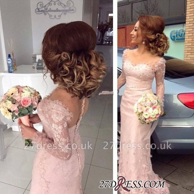 Lace Appliques Buttons Sheer Sheath Long-Sleeve Pink Prom Dress UK BA6203