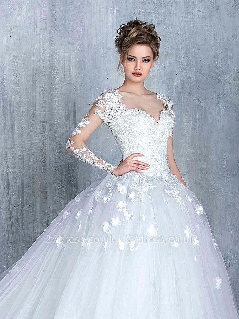 Elegant Long Sleeve White Wedding Dress tulle Ball Gown Appliques