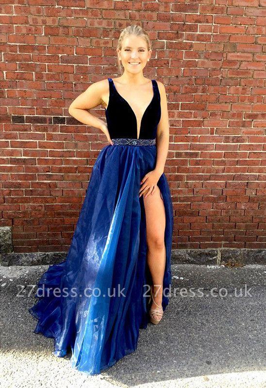 Sexy-V-Neck Sleeveless Evening Dress UK Split Long Party Dress UK With Beads