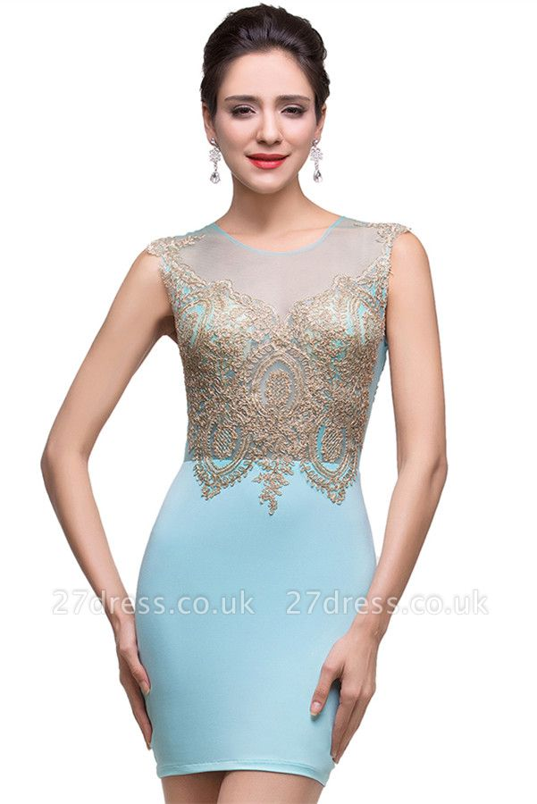 Sexy Sleeveless Short Homecoming Dress UK With Golden Appliques