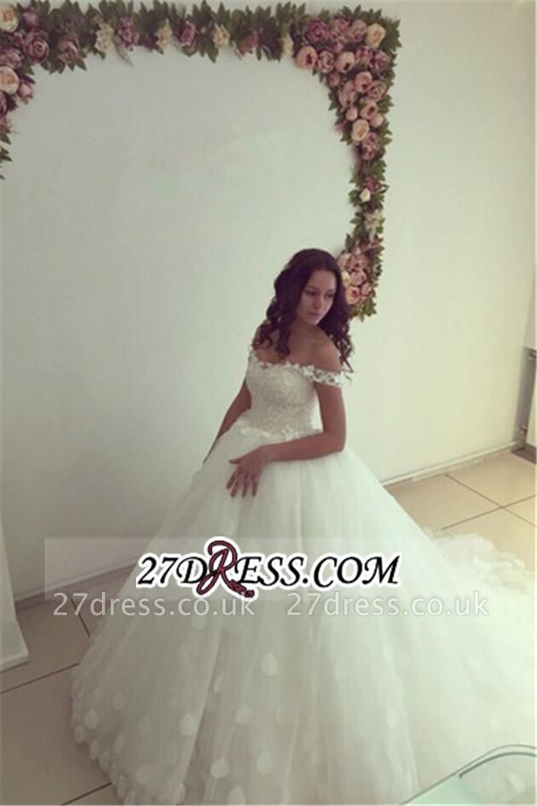 Newest Lace-up White Lace Appliques Ball-Gown Off-the-shoulder Wedding Dress