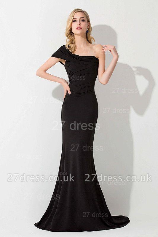 Modern One Shoulder Black Evening Dress UK Sweep Train