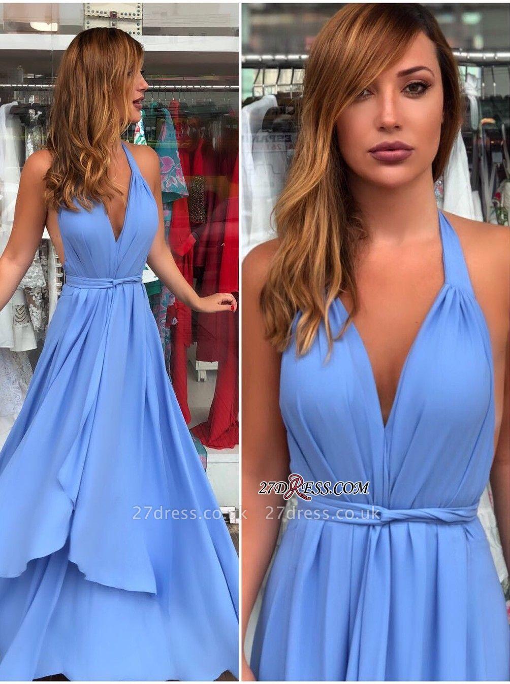 Blue v-neck chiffon prom Dress UK, long evening Dress UKes UK online
