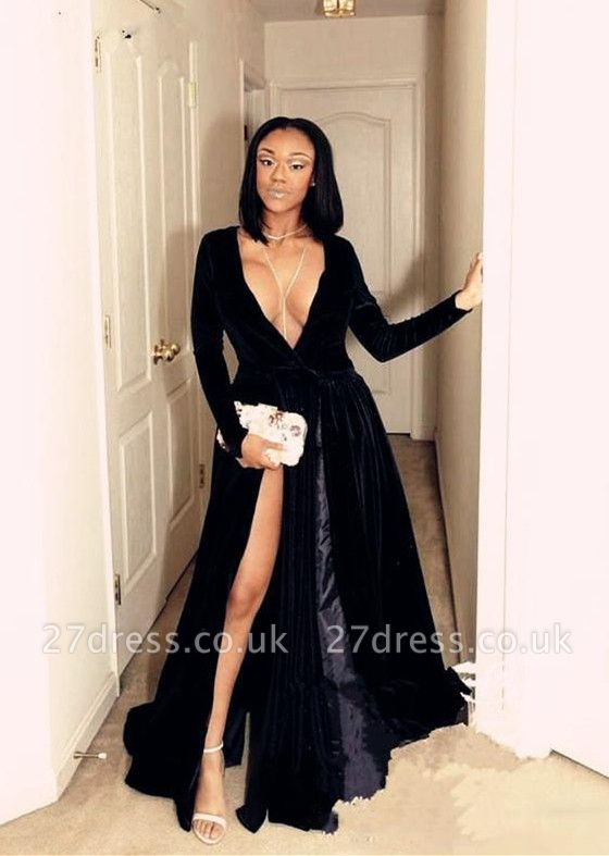 Black prom Dress UK, v-neck long evening gowns BA8234