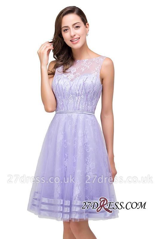 Sleeveless Lavender Lace Short A-Line Mini Homecoming Dress UK