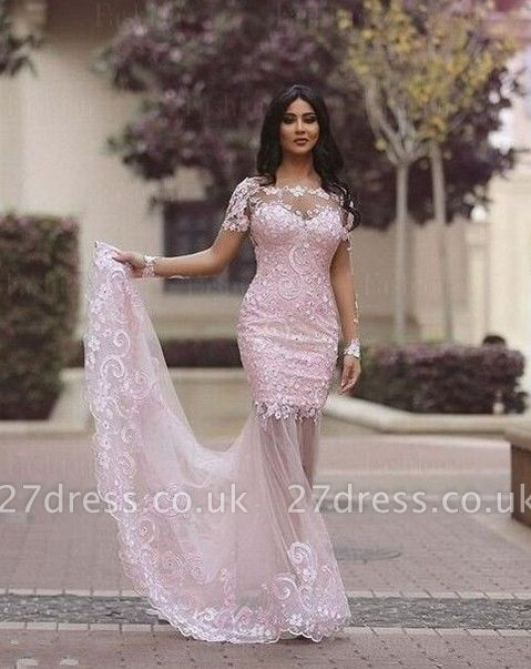 Luxury Long Sleeve Lace Appliques Evening Dress UK Mermaid Sheer Skirt Prom Gown