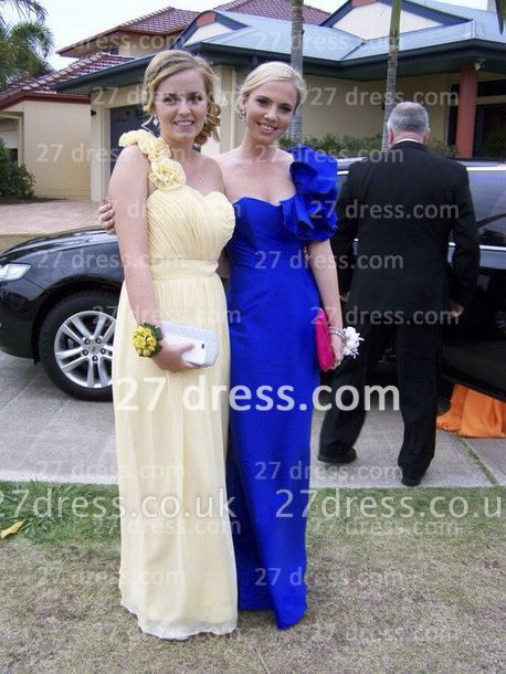 Bridesmai Long Chiffon Prom Dress UK with Sexy One-shoulder Flowers Sweetheart Gowns