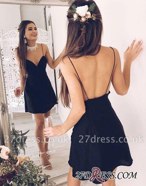 Backless Short Stylish Chic V-neck Black Spaghetti-Straps Cocktail Dress UK
