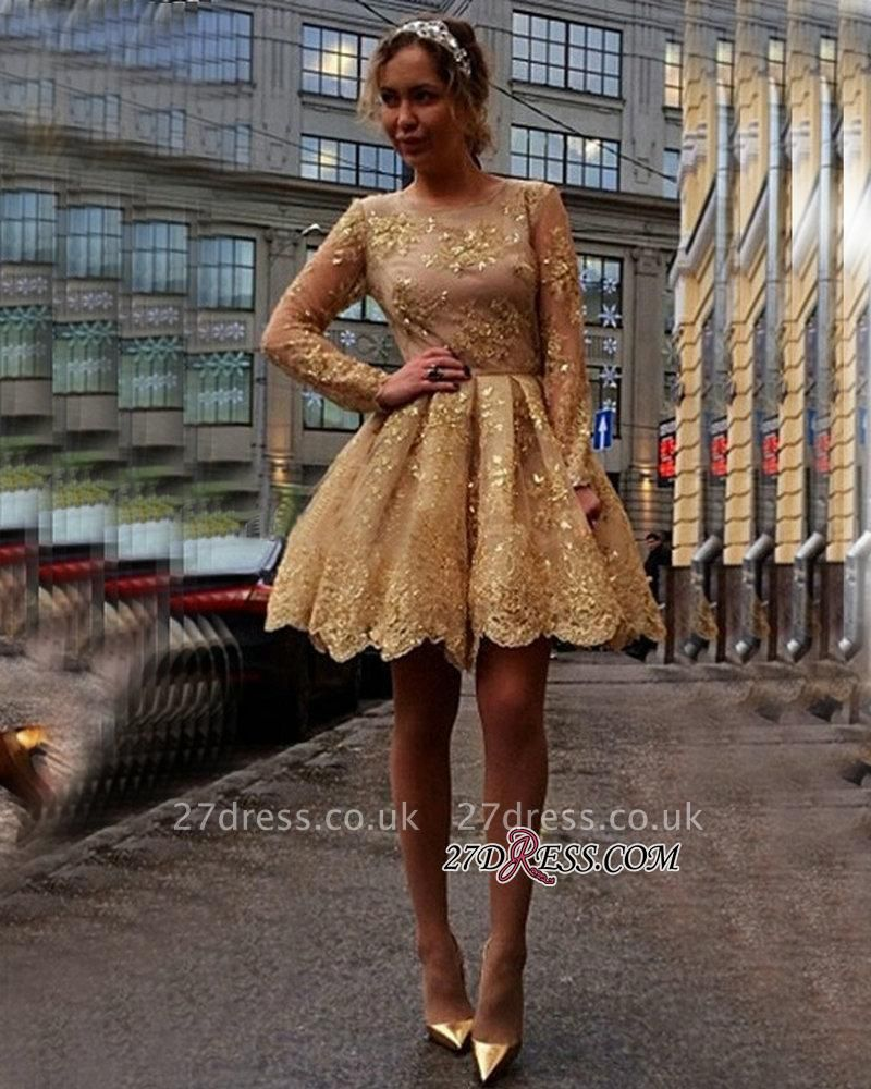 Sheer Gold Luxury Long-Sleeves Appliques Short Homecoming Dress UKes UK