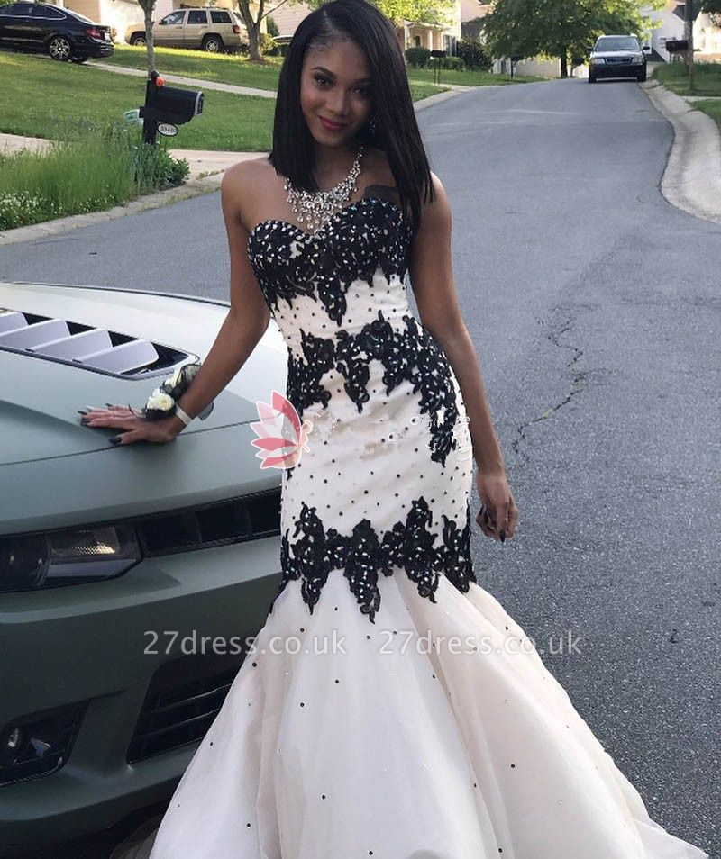 Black Lace Prom Dress UK   Mermaid Evening Gowns With Beadings