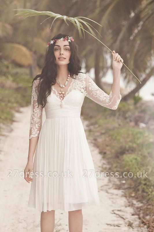 Elegant Long Sleeve Short Wedding Dress Summer  Hot
