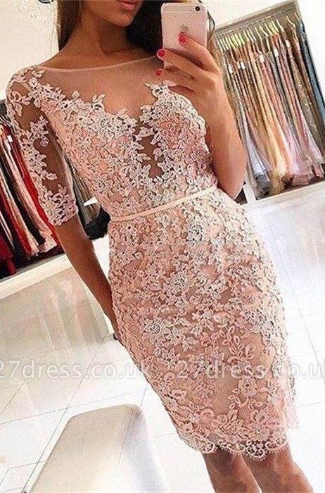 Sexy Half-Sleeve 2019 Homecoming Dress UK | Short Party Dress UK With Lace Appliques