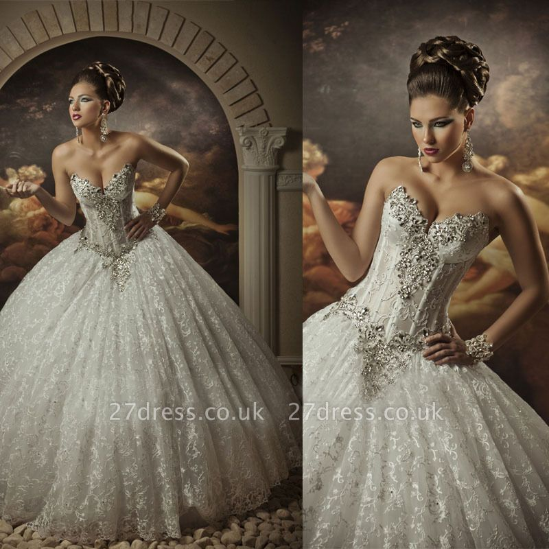 Sweetheart Lace Strapless Arabic Wedding Dresses UK Ball Gown Sleeveless Beaded Bridal Gowns With Sequins Crystals