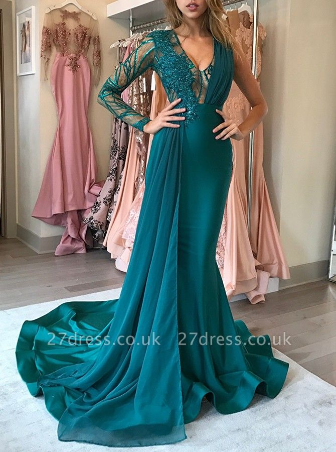 Green Long-Sleeve Prom Dress UK | Chiffon Long Evening Gowns With Appliques