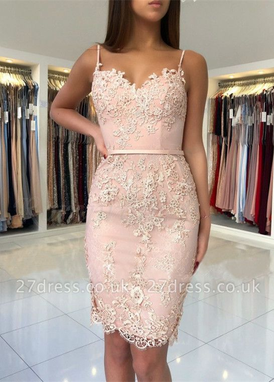 Spaghetti-Straps Sweetheart Short Prom Dress UK | Mermaid Lace Appliques Homecoming Dress UK BA9829