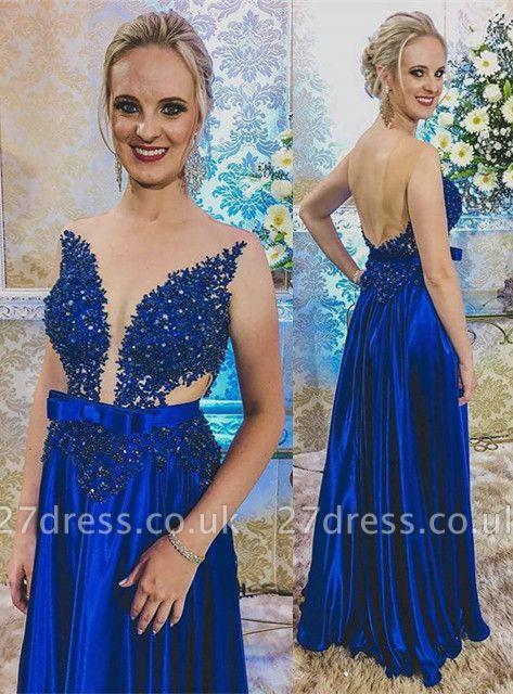 Newest Royal Blue Lace Appliques Prom Dress UK | Backless Prom Dress UK