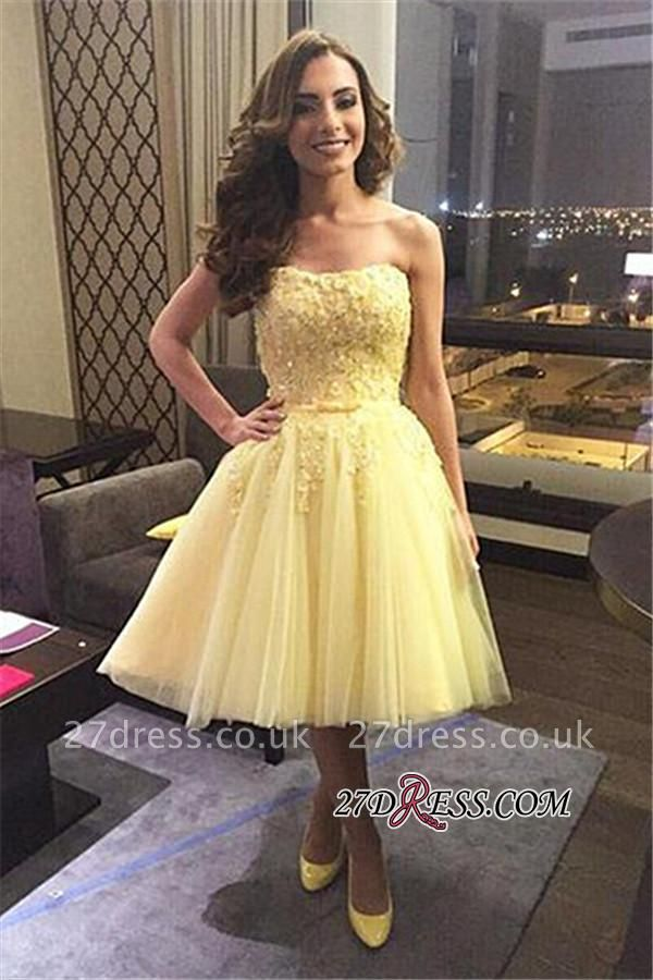 Yellow Puffy Knee-length Tulle Lace Sexy Strapless Appliques Homecoming Dress UK