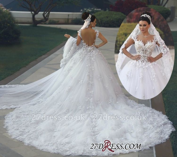 Princess Sleeveless Appliques Lace Luxurious Wedding Dress