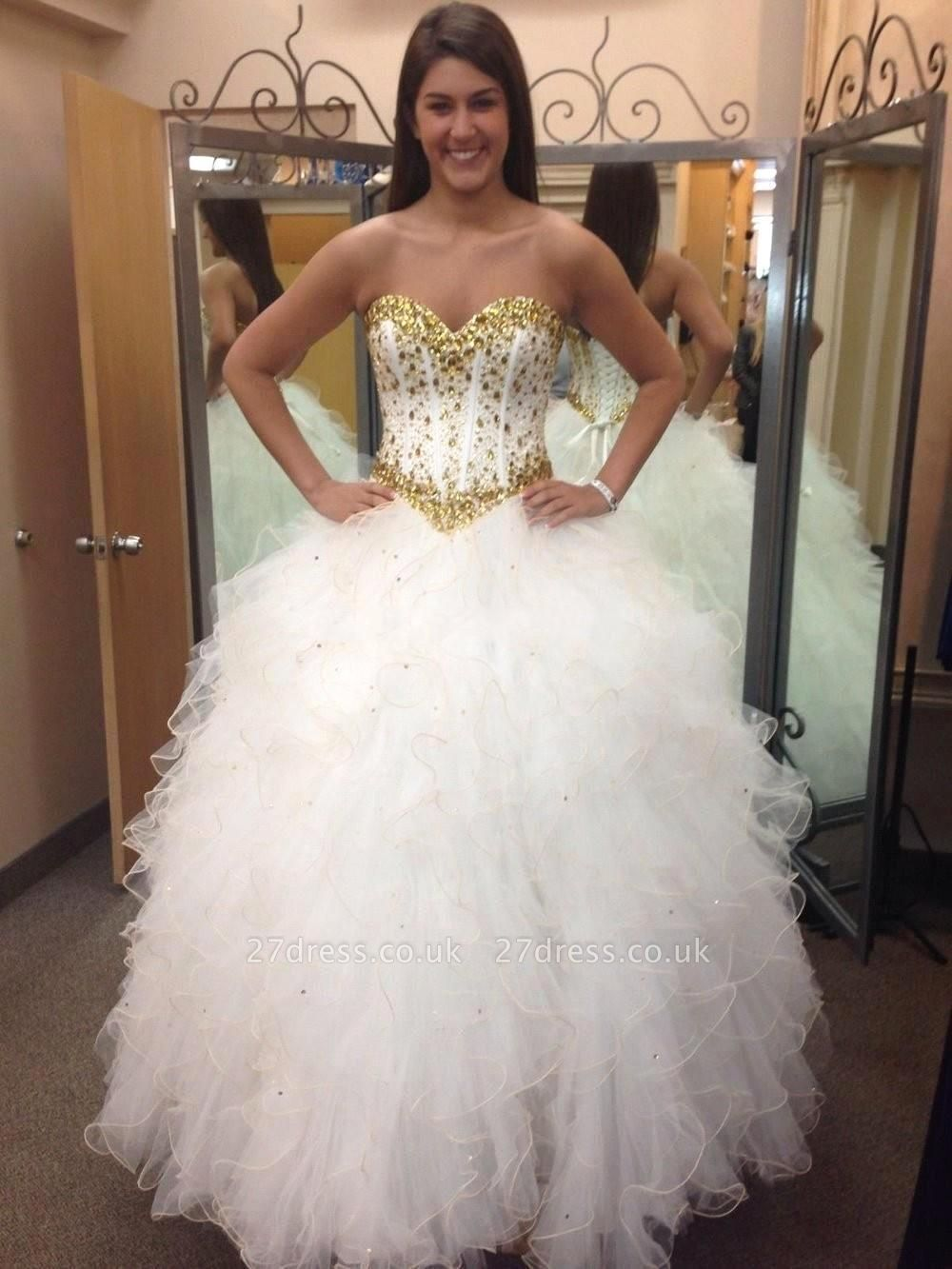 Fabulous Sweetheart Golden Crystal Wedding Dress Tulle Princess Bridal Gowns