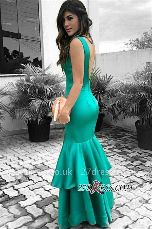 Elegant Open Back Ruffles Prom Dress UK | Sleeveless Green Evening Dress UKes UK