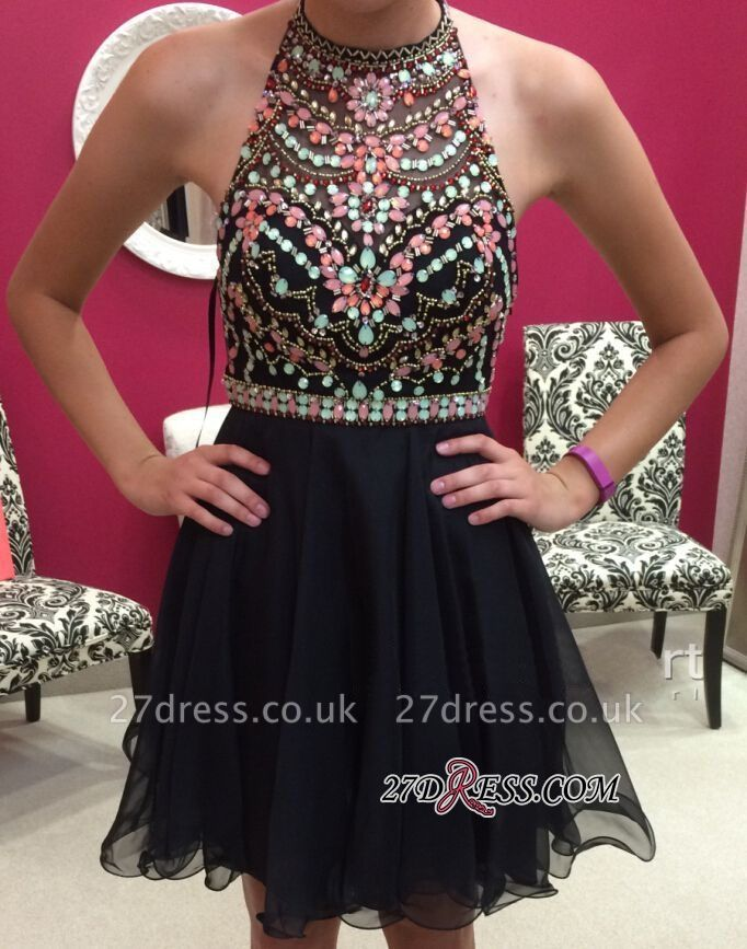 Short Newest Sleeveless Colorful-Crystals Halter Homecoming Dress UK