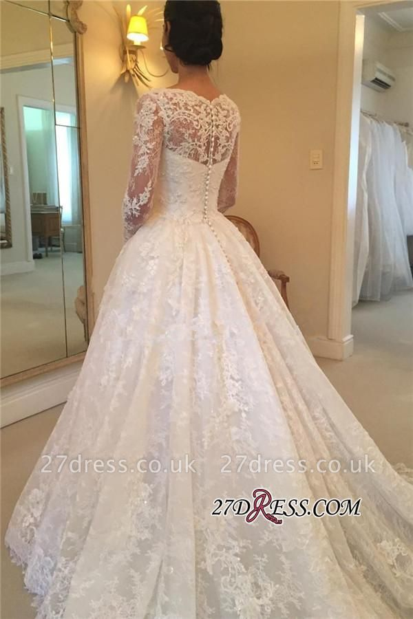 Elegant Puffy Lace Buttons Squared Long-Sleeve Court-Train Wedding Dress