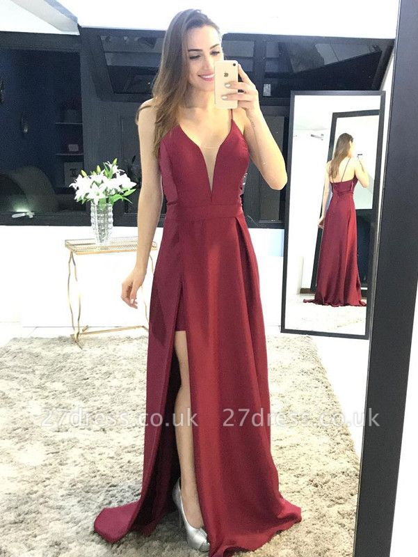 Sexy Spaghetti Straps Split Prom Dress UK Long Party Gown On Sale