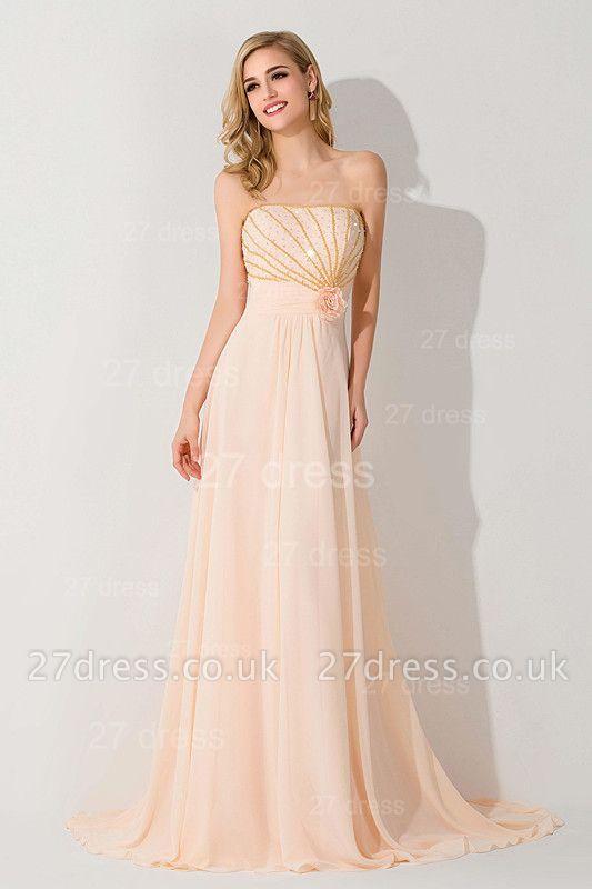 Gorgeous Strapless Flower Chiffon Bridesmaid Dress UK Sweep Train