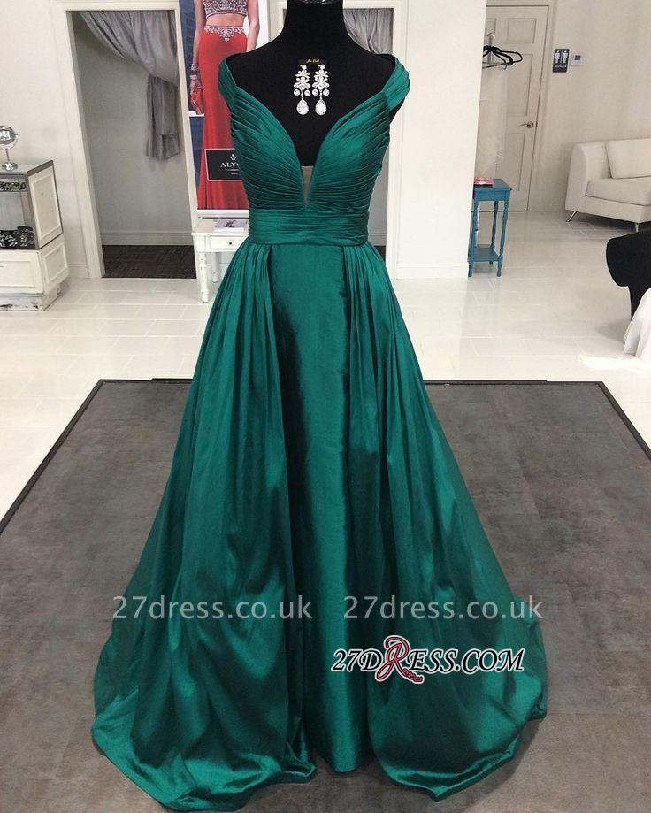 Modern Long Cap-Sleeve V-neck A-line Prom Dress UK