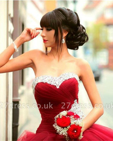 Gorgeous Sweetheart Red Prom Dress UK Ball Gown Crystal Sweet Sixteen Dress UK