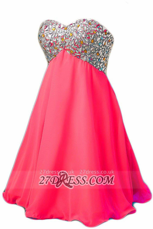 Elegant Sweetheart Sleeveless Short Homecoming Dress UK Colorful Beadings Lace-up Chiffon Cocktail Gown