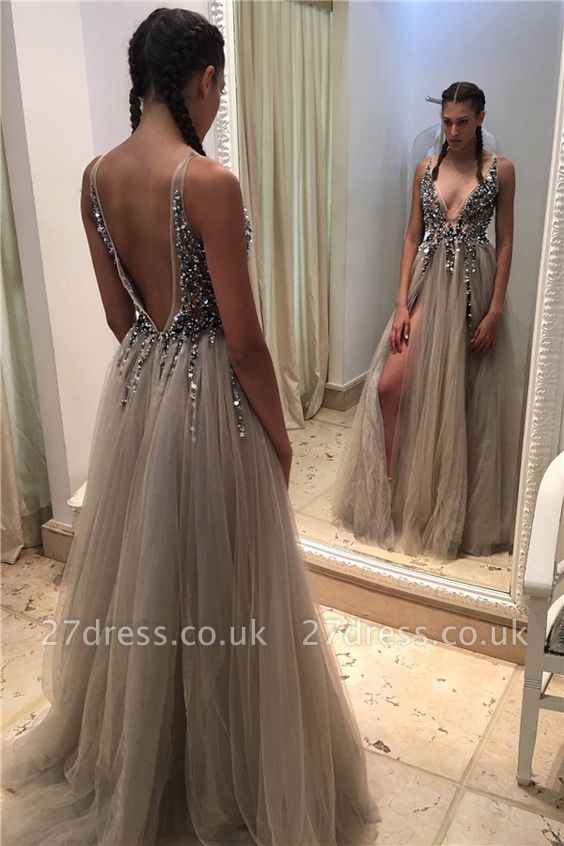 Deep-V-neck Elegant Front-Slit Beadings Open-Back Tulle Prom Dress UKes UK BA4255