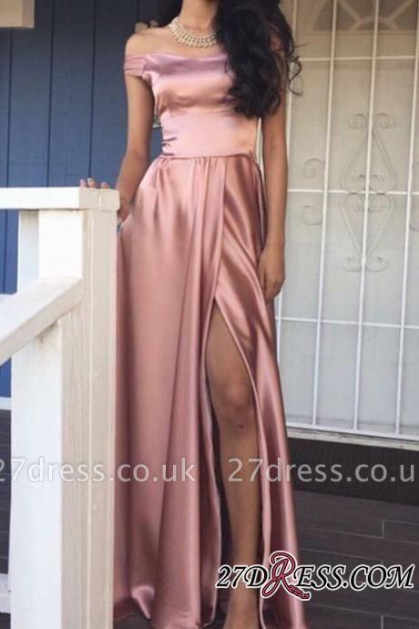 Off-the-Shoulder Front-Slit Rose Pink Shiny A-line Prom Dress UKes UK LY159