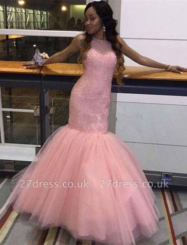 Fabulous Sleeveless Pink Prom Dress UK Mermaid Tulle Floor Length BK0