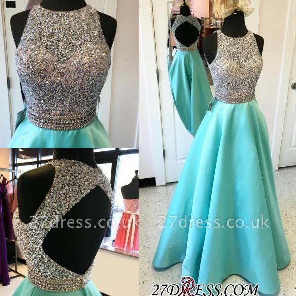 Floor-Length A-Line Sleeveless Crystal Luxury Halter Prom Dress UKes UK