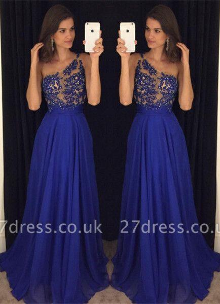 Sexy Royal Blur One Shoulder Prom Dress UKes UK Long Chiffon Appliques AP0
