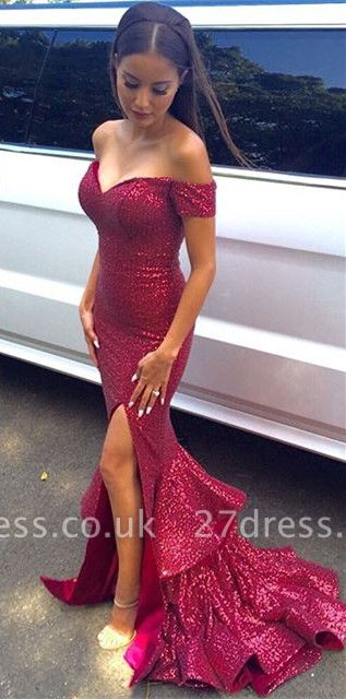Gorgeous Sequined Mermaid Ruffles Prom Dress UK Front Split Off-the-shoulder